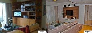 Uma nova mobília fez a diferença na decoração deste apartamento.