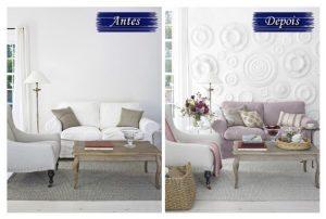 Pequenas mudanças como neste caso da parede com textura a a capa do sofá deixou a sala mais sofisticada no comparativo antes x depois.