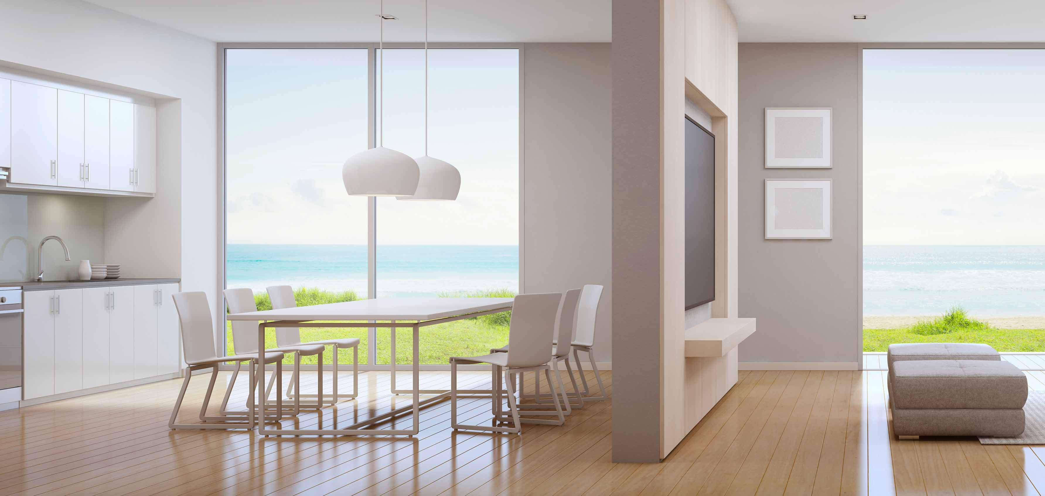 Cozinha integrada com a sala: saiba escolher o piso ideal